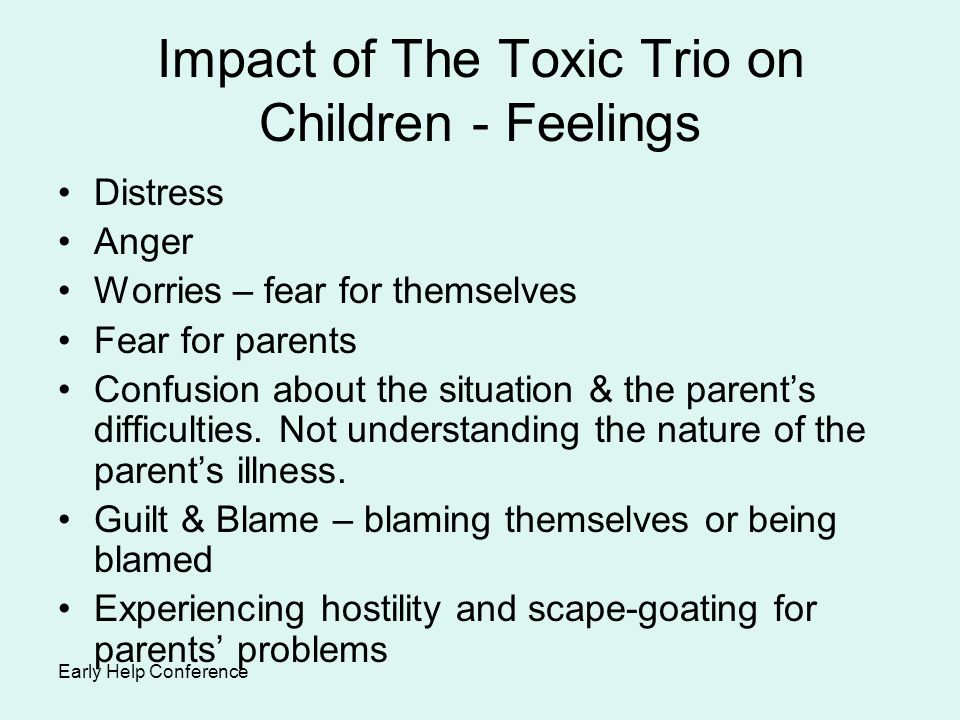Impact of The Toxic Trio on Children - Feelings