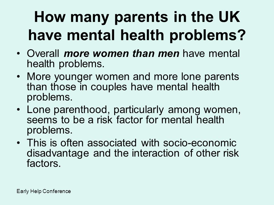 How many parents in the UK have mental health problems