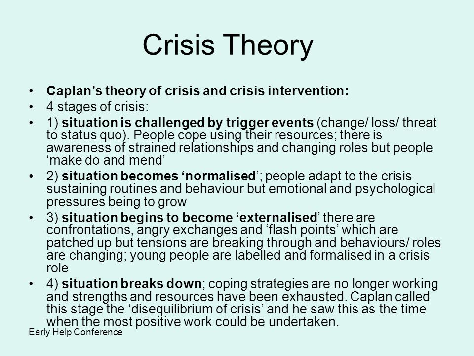 Crisis Theory Caplan's theory of crisis and crisis intervention: