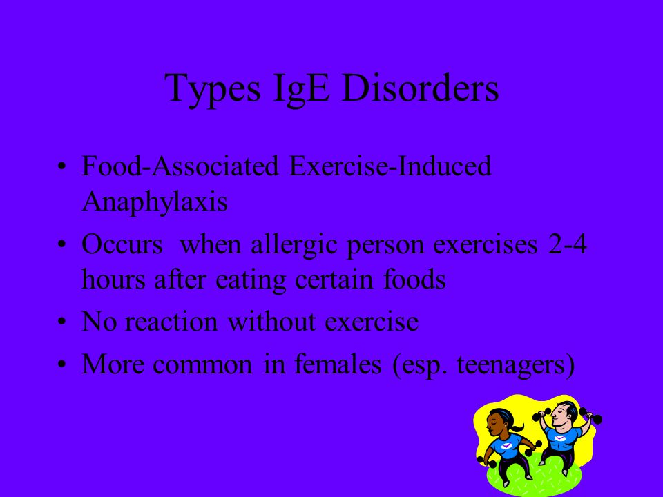 Types IgE Disorders Food-Associated Exercise-Induced Anaphylaxis