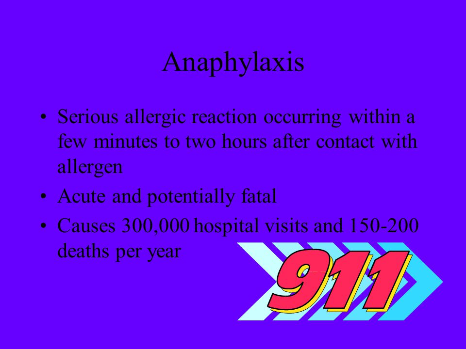 Anaphylaxis Serious allergic reaction occurring within a few minutes to two hours after contact with allergen.