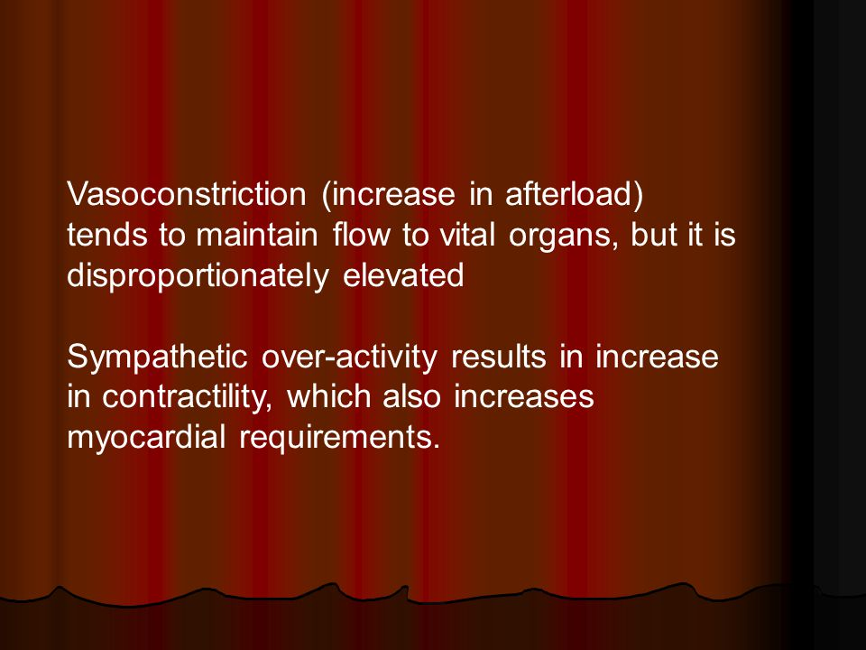 Vasoconstriction (increase in afterload) tends to maintain flow to vital organs, but it is disproportionately elevated
