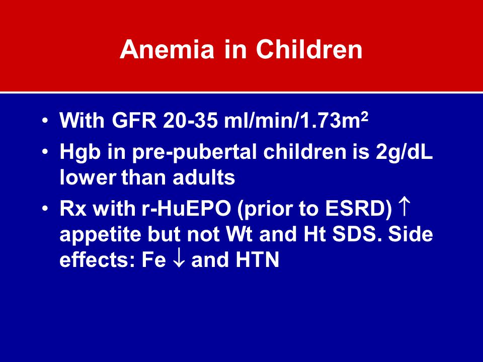 Anemia in Children With GFR 20-35 ml/min/1.73m2