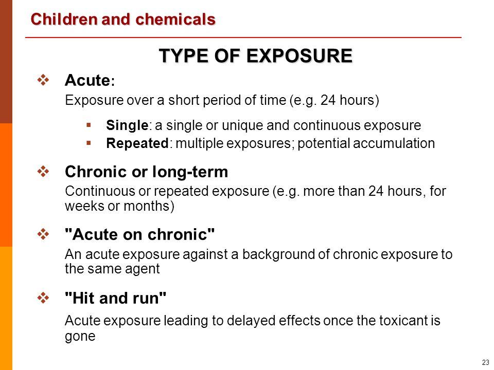 TYPE OF EXPOSURE Acute: Chronic or long-term Acute on chronic