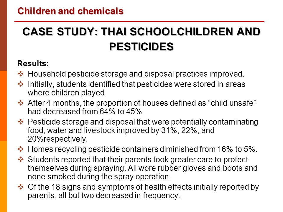 CASE STUDY: THAI SCHOOLCHILDREN AND PESTICIDES