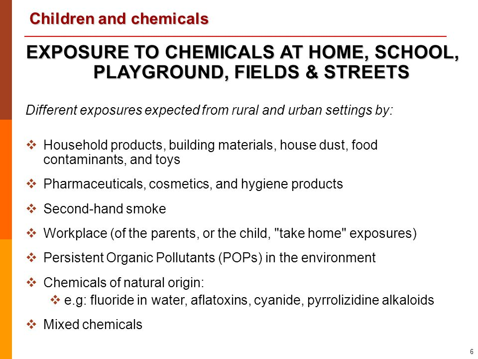 EXPOSURE TO CHEMICALS AT HOME, SCHOOL, PLAYGROUND, FIELDS & STREETS