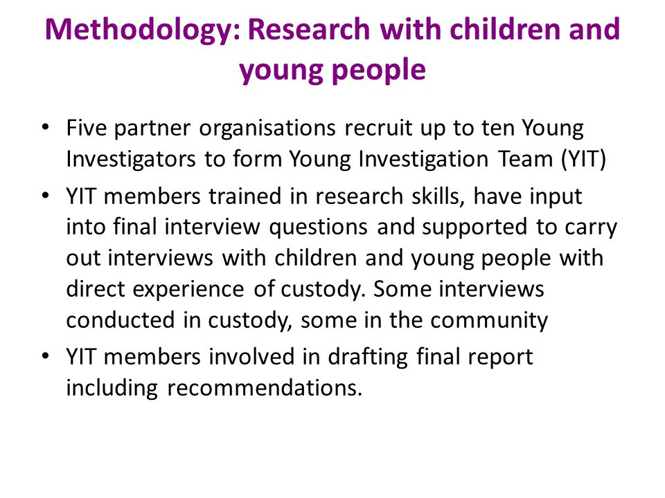 Methodology: Research with children and young people