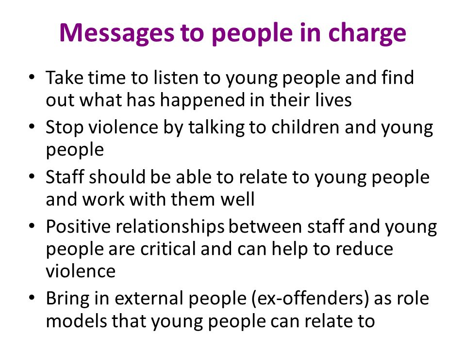 Messages to people in charge