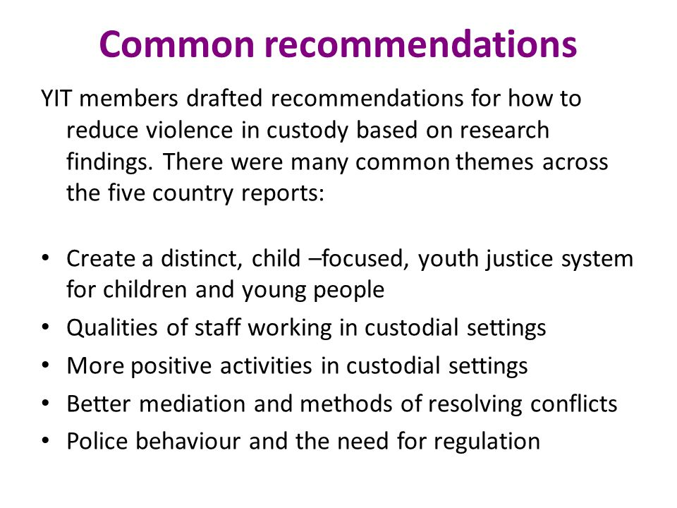 Common recommendations