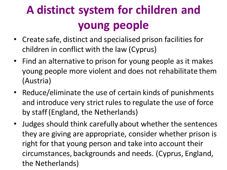 A distinct system for children and young people