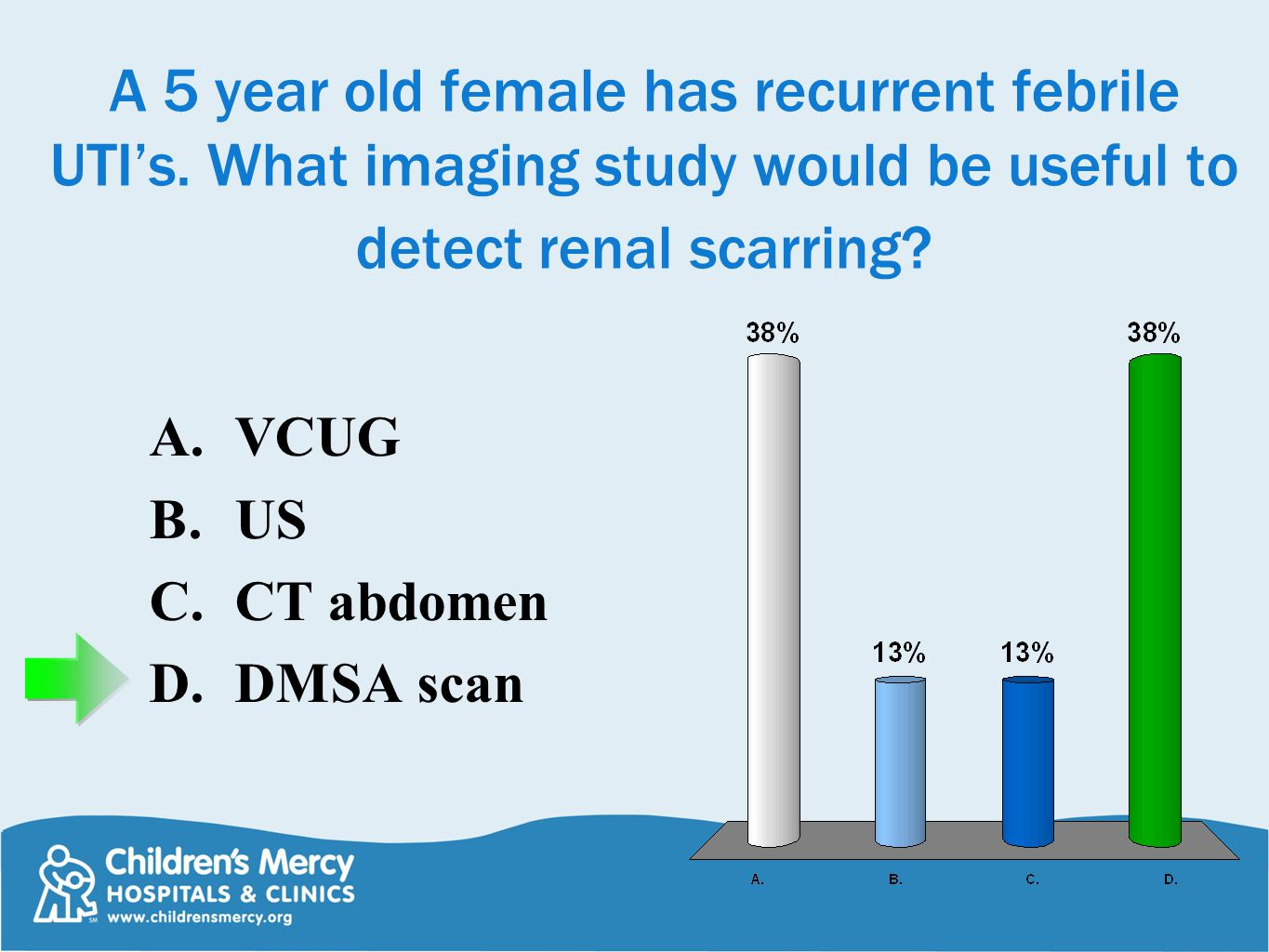 A 5 year old female has recurrent febrile UTI's