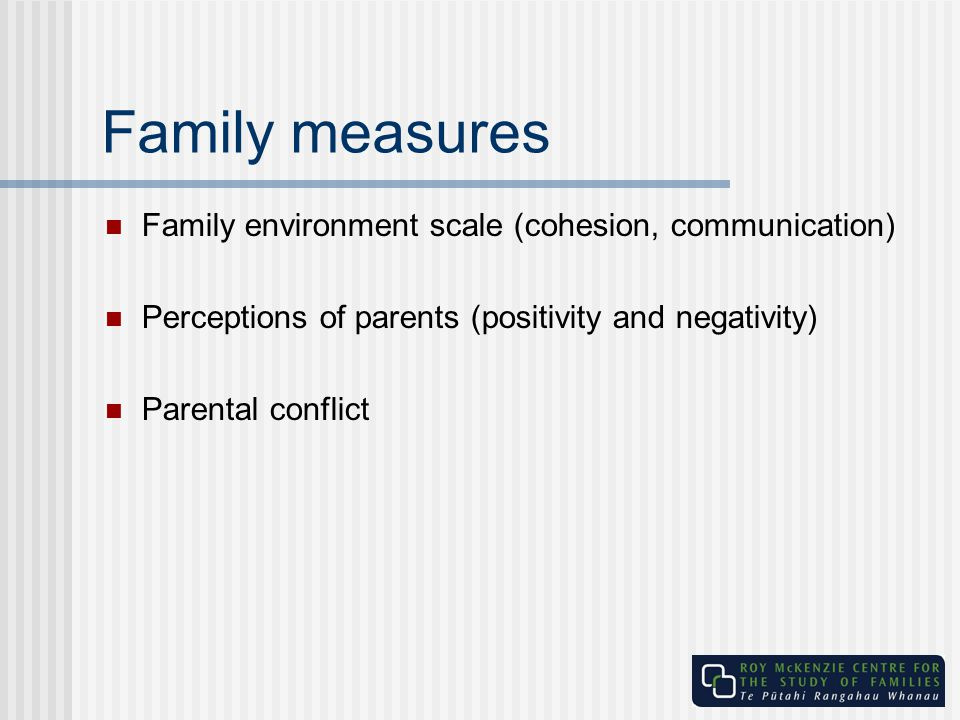 Family measures Family environment scale (cohesion, communication)