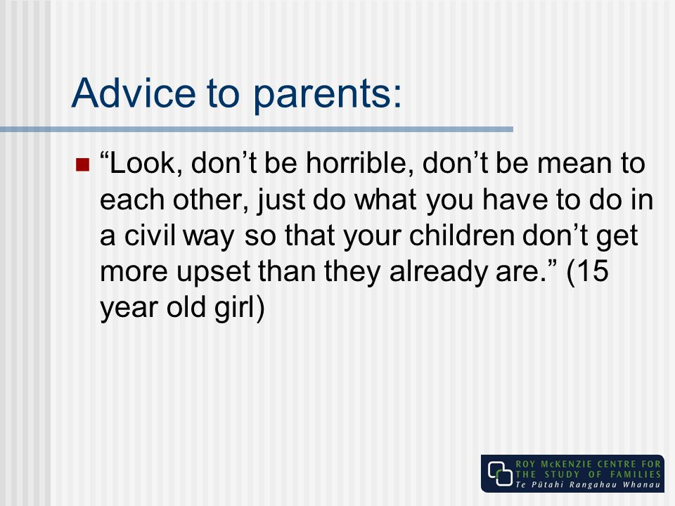 Advice to parents: