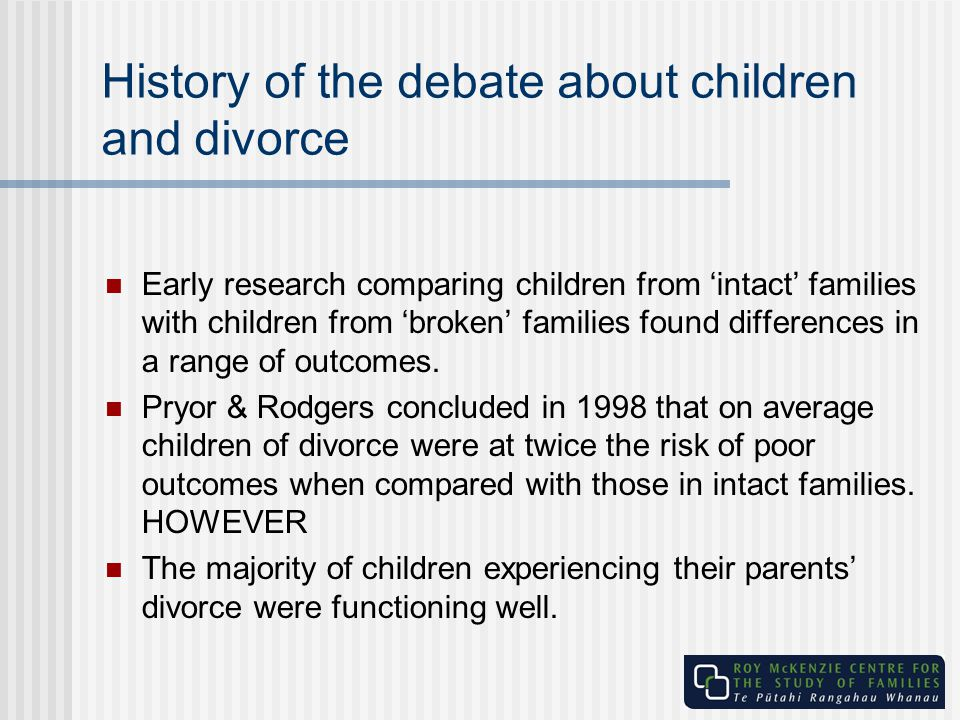 History of the debate about children and divorce