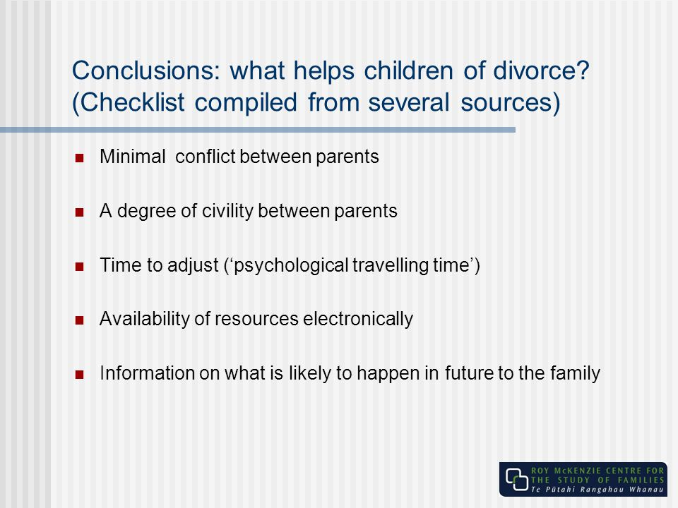 Conclusions: what helps children of divorce