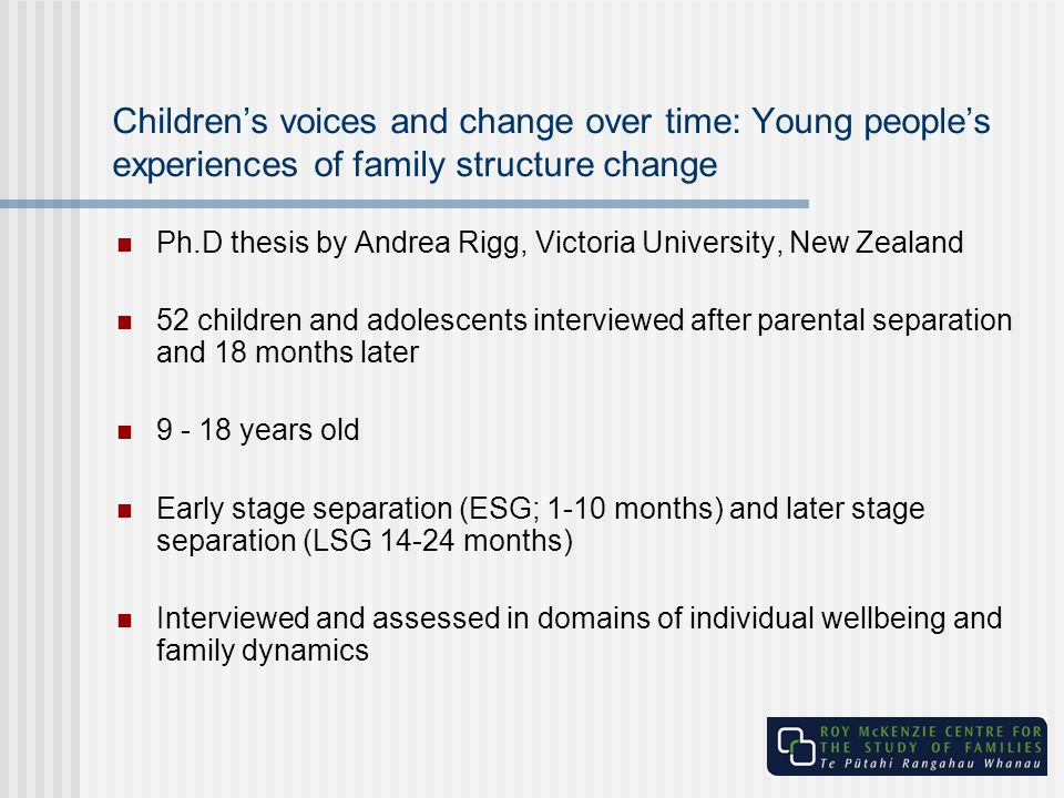 Children's voices and change over time: Young people's experiences of family structure change