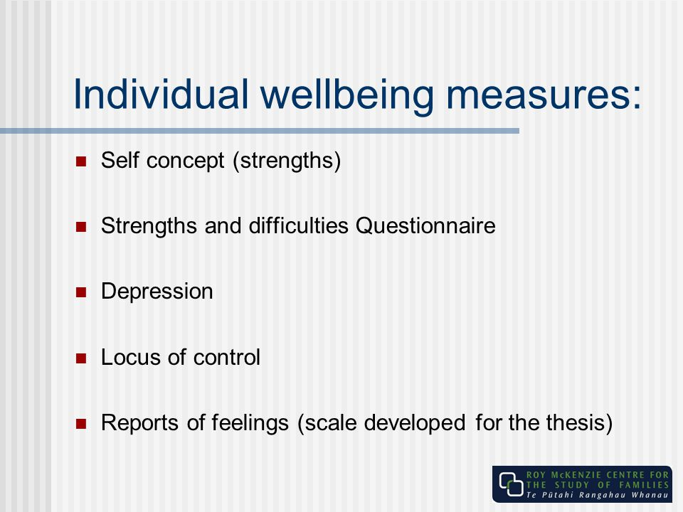 Individual wellbeing measures: