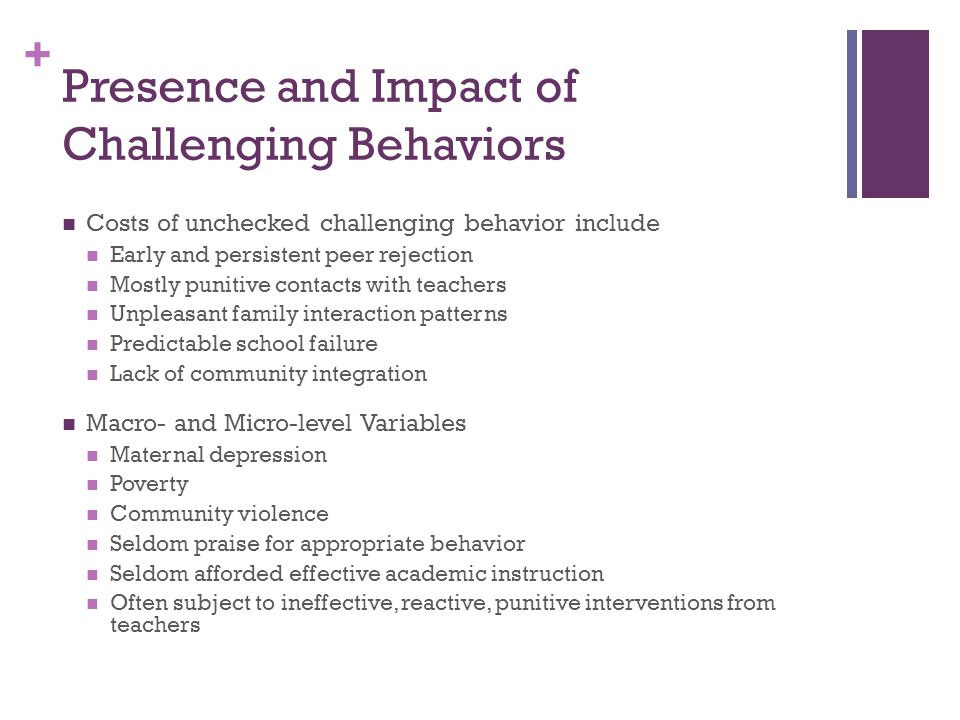 Presence and Impact of Challenging Behaviors