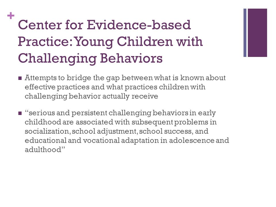 Center for Evidence-based Practice: Young Children with Challenging Behaviors
