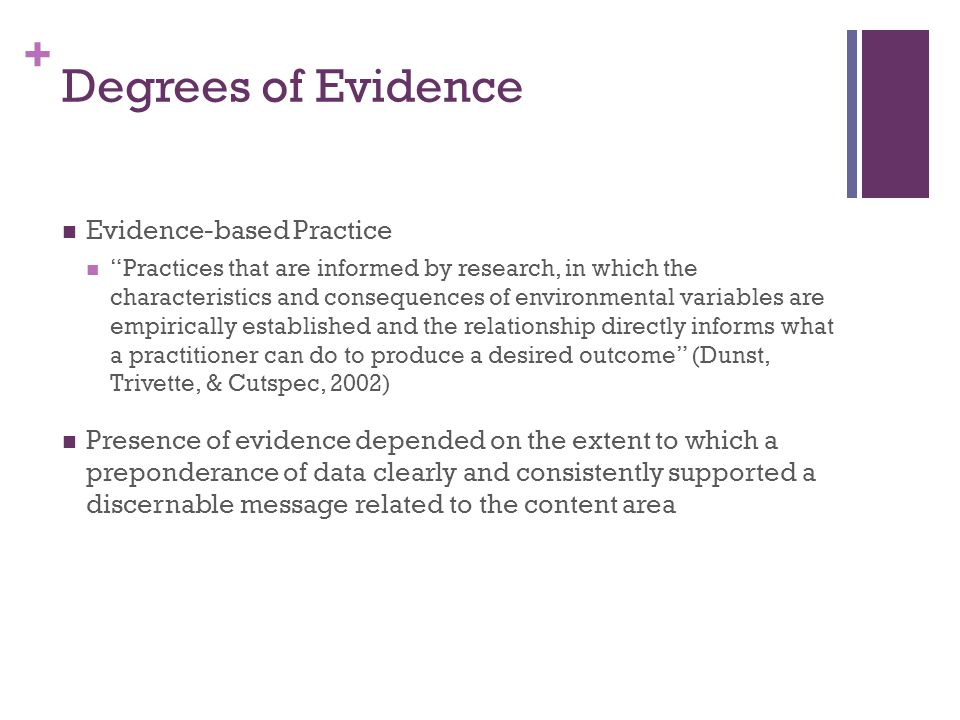 Degrees of Evidence Evidence-based Practice