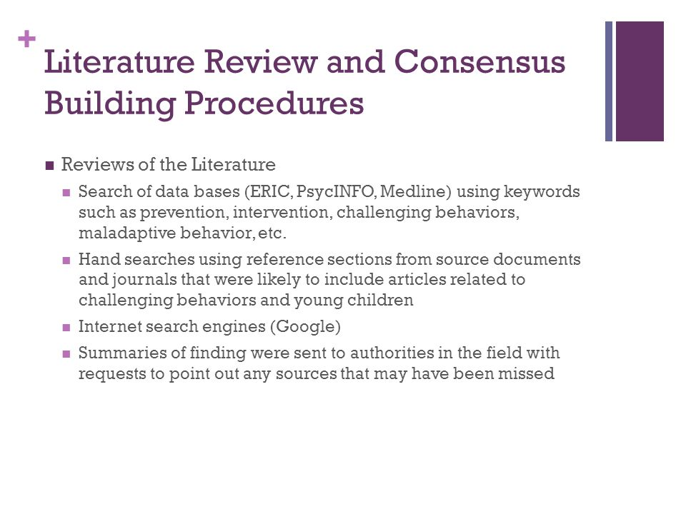 Literature Review and Consensus Building Procedures