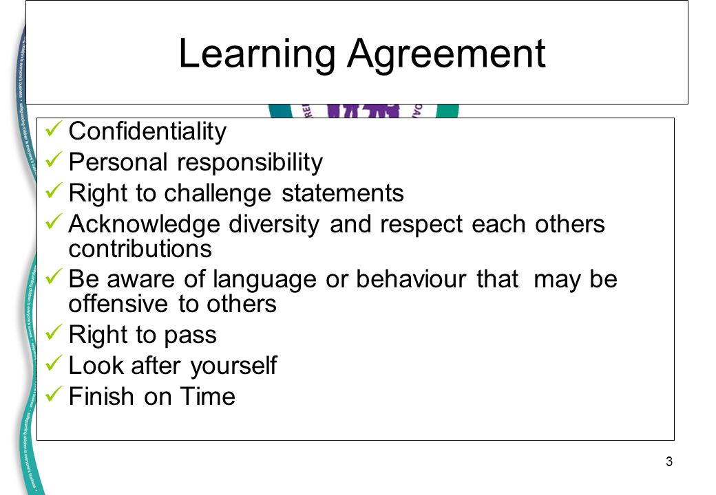 Learning Agreement Confidentiality Personal responsibility