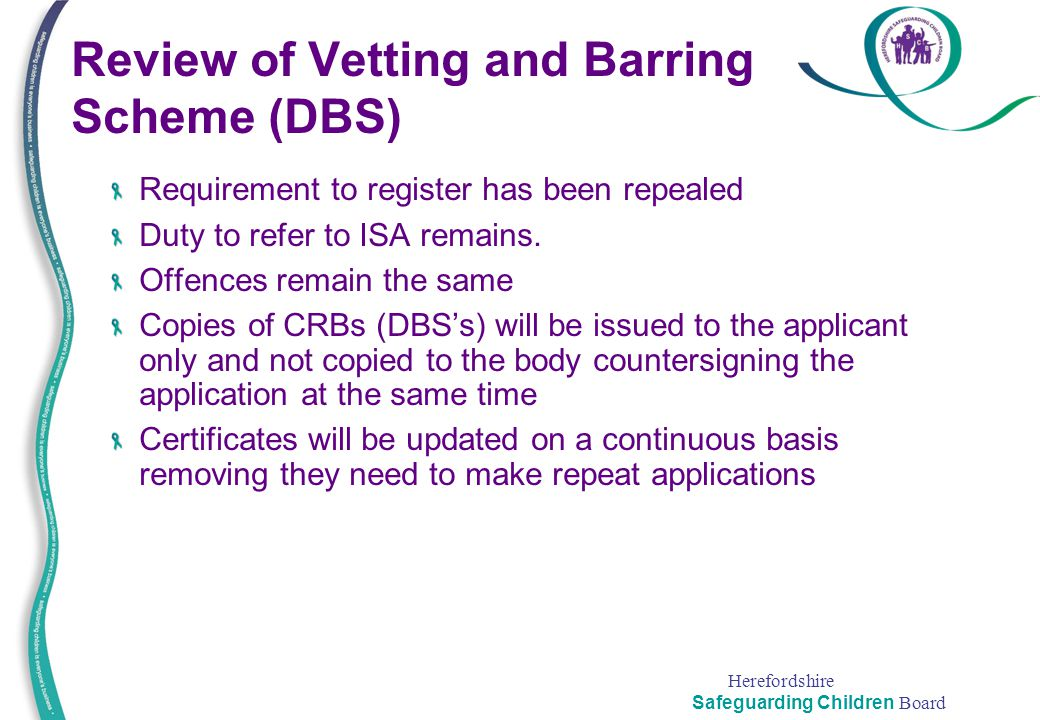 Review of Vetting and Barring Scheme (DBS)