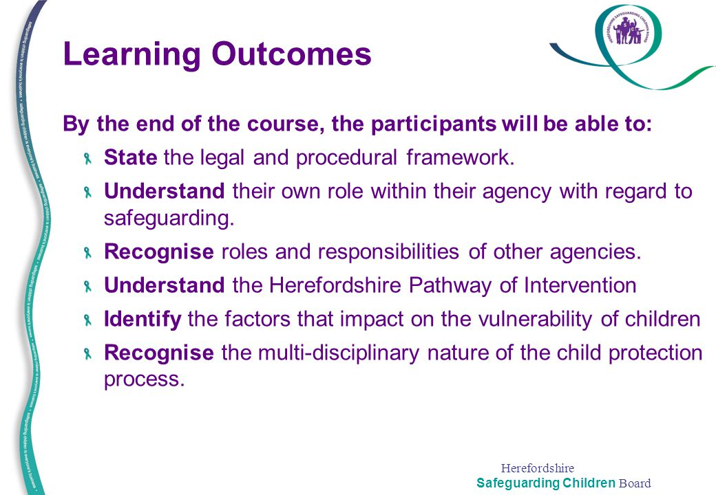 Learning Outcomes By the end of the course, the participants will be able to: State the legal and procedural framework.