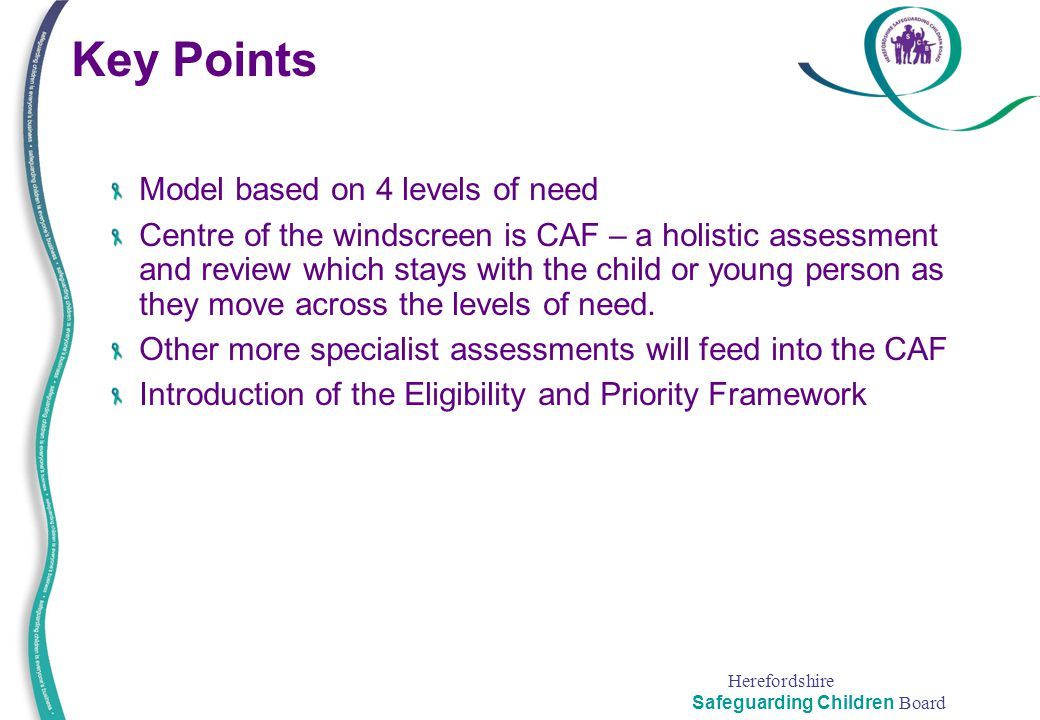 Key Points Model based on 4 levels of need