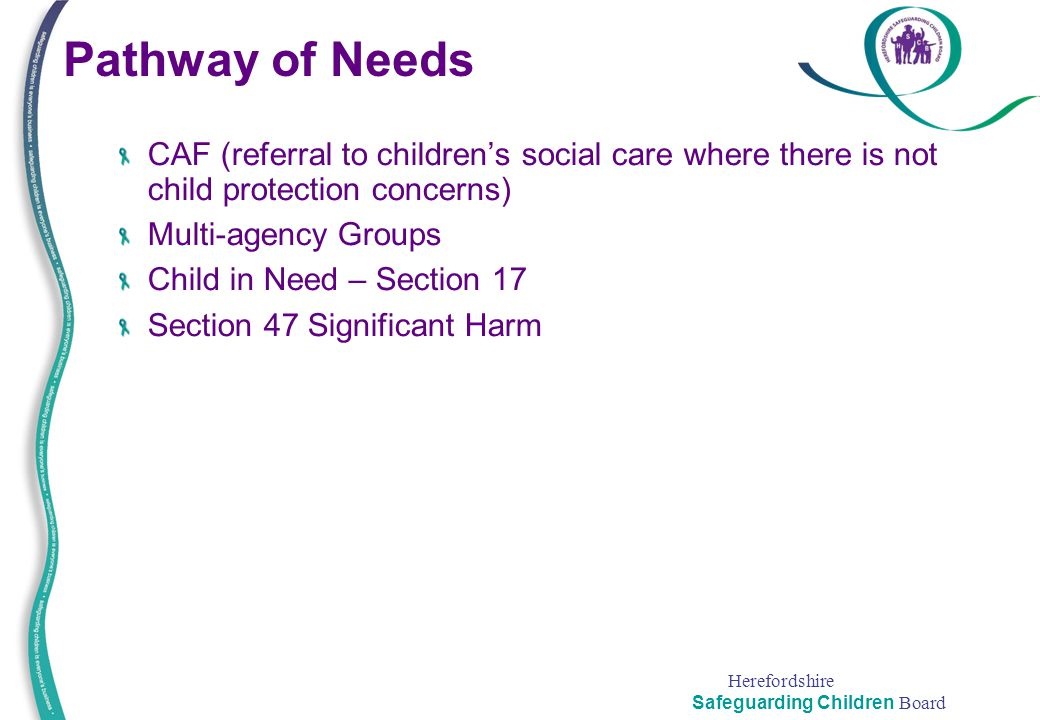 Pathway of Needs CAF (referral to children's social care where there is not child protection concerns)