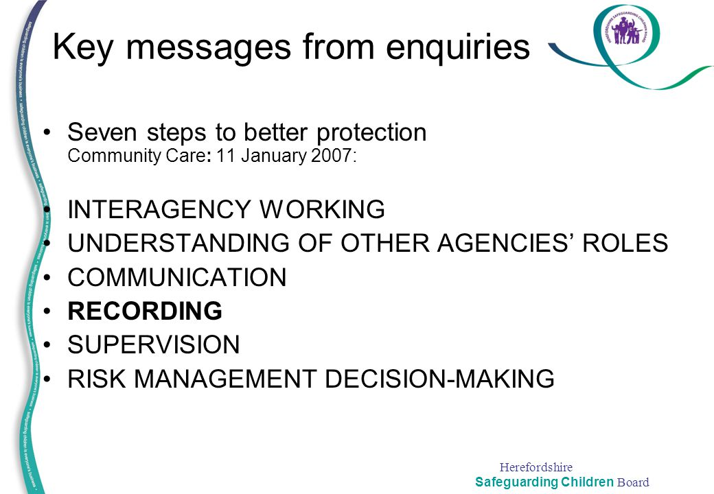 Key messages from enquiries