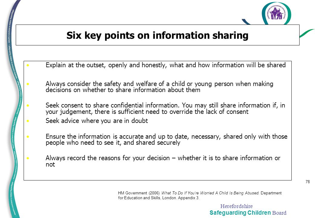 Six key points on information sharing
