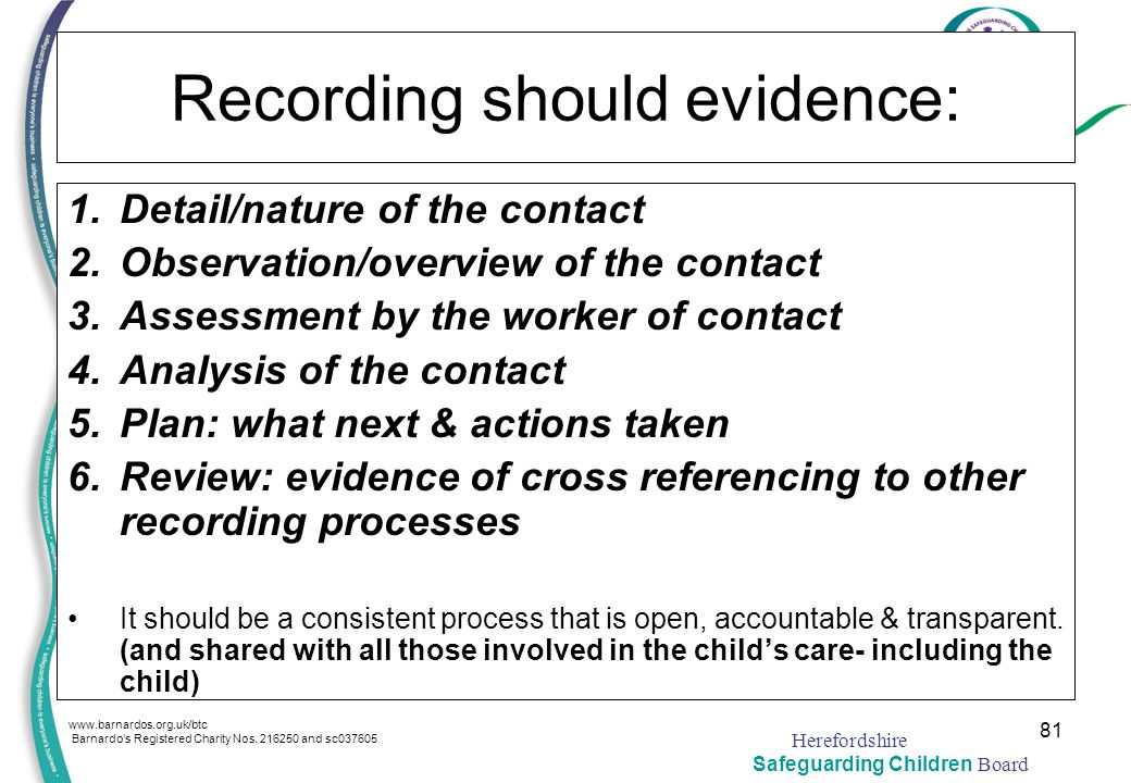 Recording should evidence: