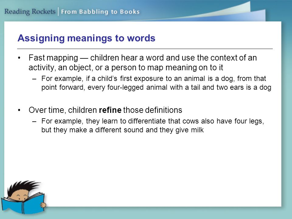 Assigning meanings to words