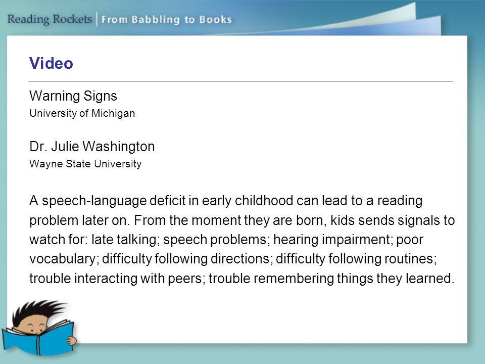 Video Warning Signs Dr. Julie Washington