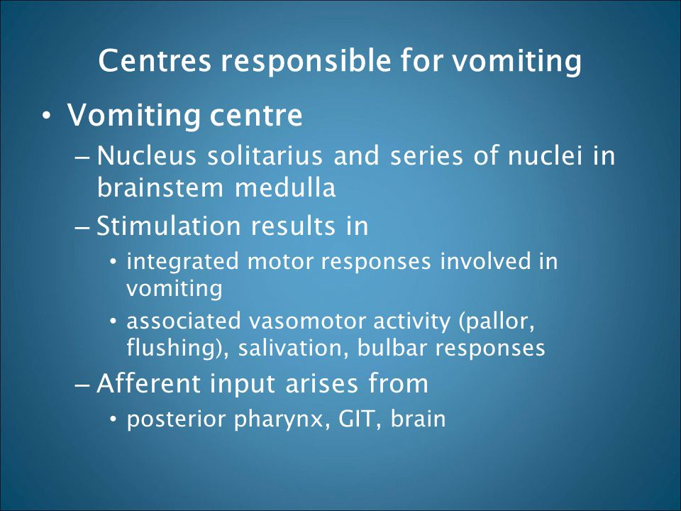 Centres responsible for vomiting