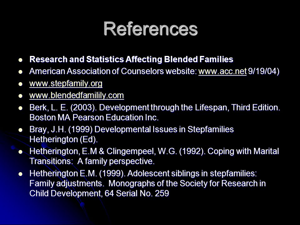 References Research and Statistics Affecting Blended Families