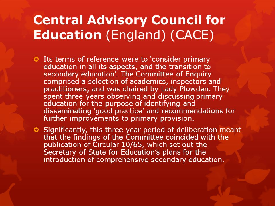 Central Advisory Council for Education (England) (CACE)