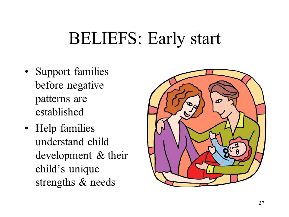 BELIEFS: Early start Support families before negative patterns are established.