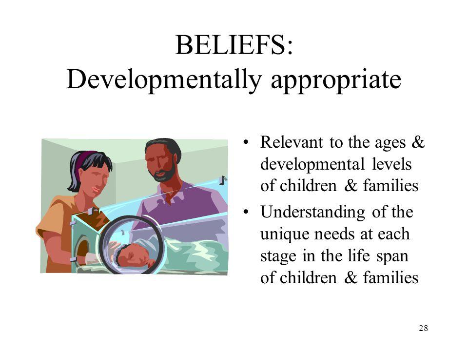 BELIEFS: Developmentally appropriate