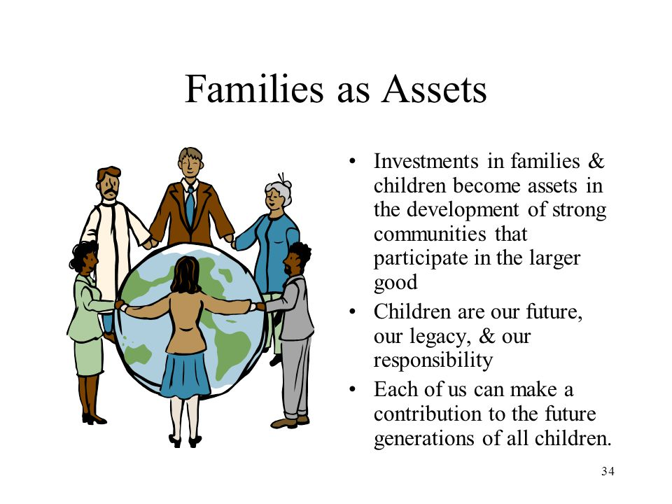 Families as Assets Investments in families & children become assets in the development of strong communities that participate in the larger good.