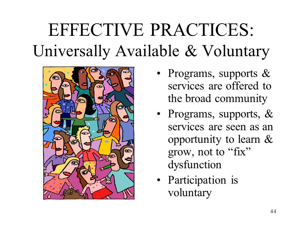 EFFECTIVE PRACTICES: Universally Available & Voluntary