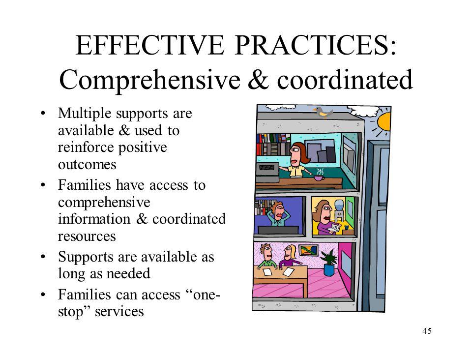 EFFECTIVE PRACTICES: Comprehensive & coordinated