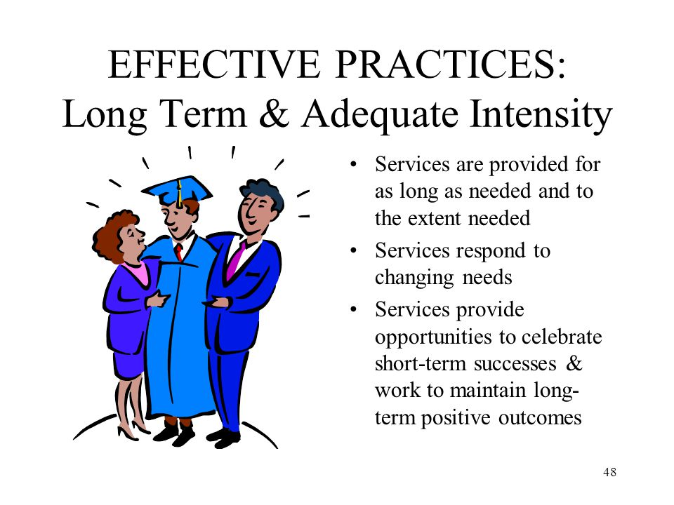 EFFECTIVE PRACTICES: Long Term & Adequate Intensity
