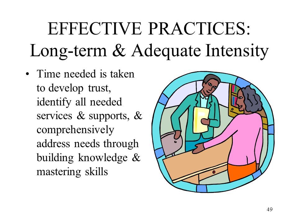 EFFECTIVE PRACTICES: Long-term & Adequate Intensity