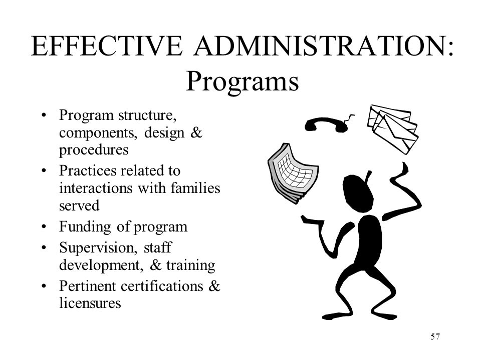 EFFECTIVE ADMINISTRATION: Programs