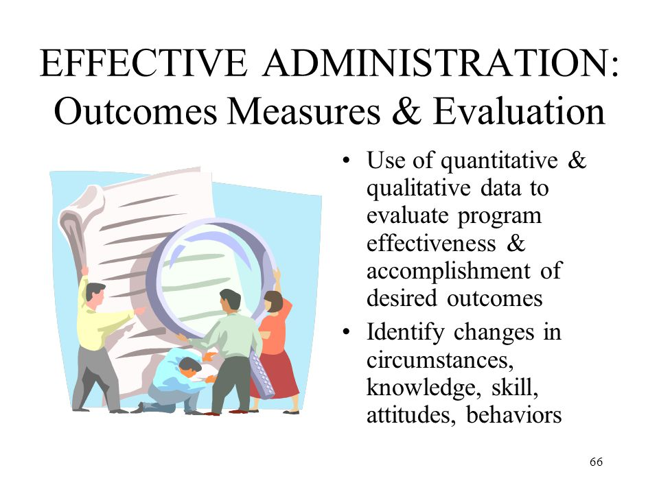 EFFECTIVE ADMINISTRATION: Outcomes Measures & Evaluation