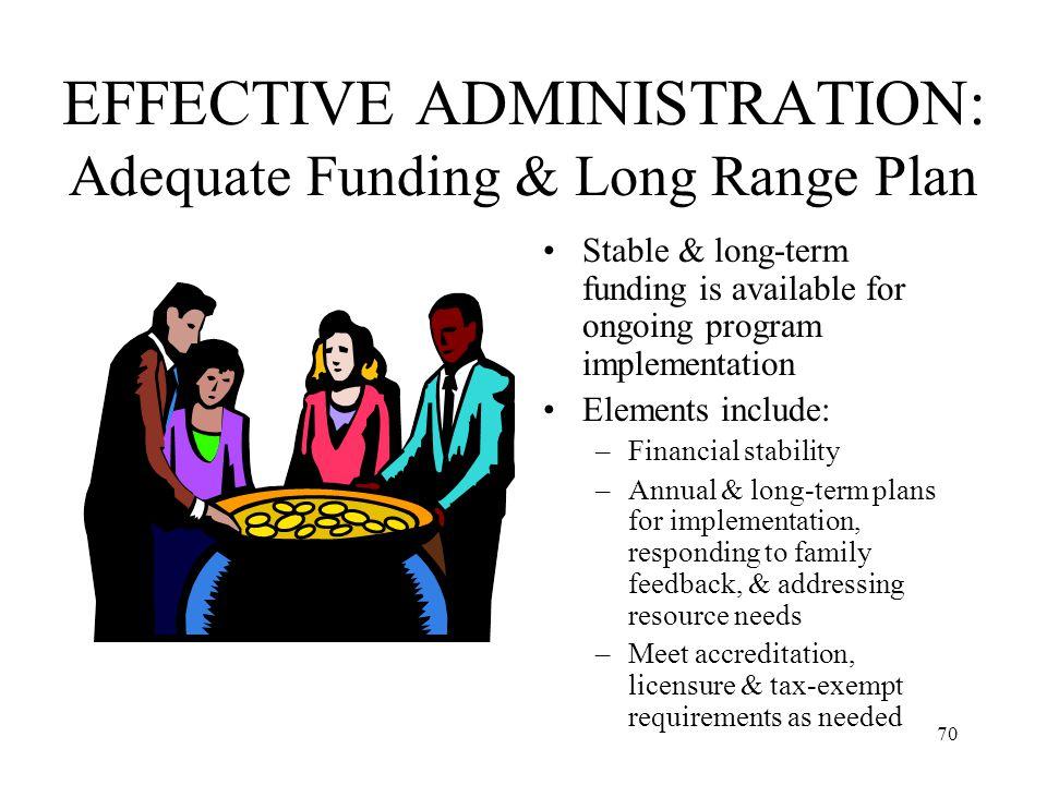 EFFECTIVE ADMINISTRATION: Adequate Funding & Long Range Plan