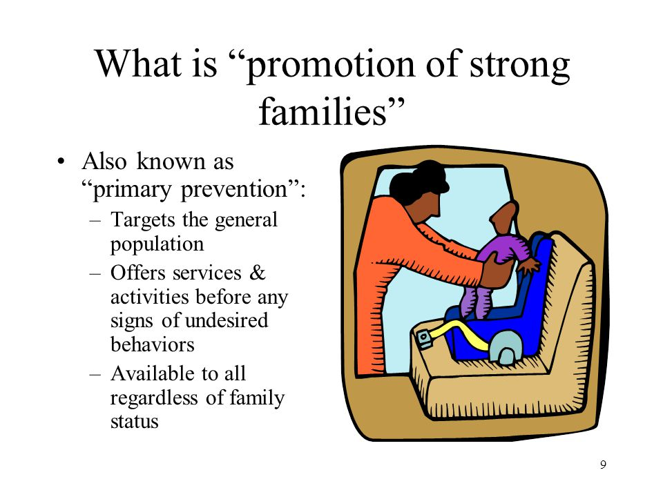 What is promotion of strong families