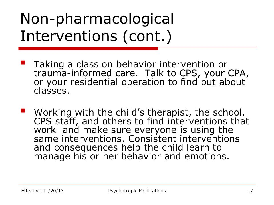 Non-pharmacological Interventions (cont.)